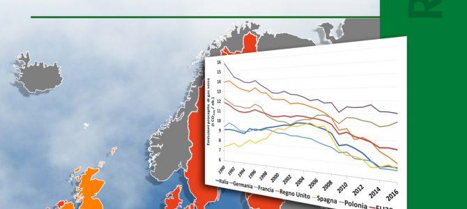 """Ispra, pubblicato il rapporto """"Emissioni nazionali di gas serra: indicatori di efficienza e decarbonizzazione nei principali Paesi Europei"""""""